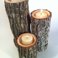 Tree Branch Candle Holders Rustic Candle Sticks Log