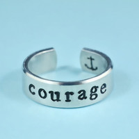 courage Ring - Hand Stamped Aluminum Ring, Skinny Ring
