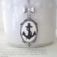 Black White Anchor Necklace with Bow by mysweetn0vember on Etsy