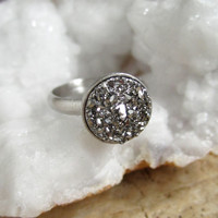 Silver Druzy Ring Titanium Druzy Quartz Rhodium Plated Sterling Adjustable Band