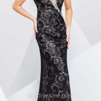 Asymmetrical Paisley Prom Gown by Tony Bowls Paris