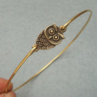 Little Owl Bangle Bracelet by turquoisecity on Etsy
