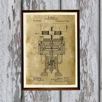 Electric generator poster Vintage art Patent print Industrial decor AKP240