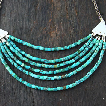 Multi strand turquoise necklace. Layered sterling silver and blue green beaded turquoise bib necklace. Modern, handmade unique jewelry.