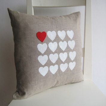 Hearts on Linen 16 x 16 Cushion cover