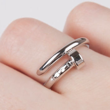 Nail ring silver adjustable stackable ring statement ring gift for her fashion ring women ring unique ring cute ring christian ring