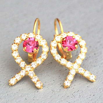 Brest Cancer Jewelry, Brest Cancer Earrings, Brest Cancer Swarovski Pink Crystal Earrings, Brest Cancer Breast Cancer Awareness, Droplets