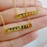 gold initial bar necklace-gold bar initial necklace-gold initial necklace-initial necklace-nameplate necklace-personalized bar necklace