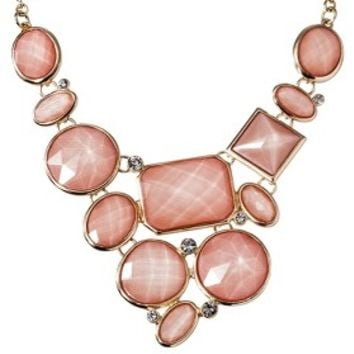 Women's Assorted Stone Plate Necklace - Pink