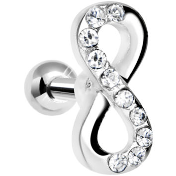"""14 Gauge Clear Gem Infinity Symbol Tragus Cartilage Earring 5/16"""" 