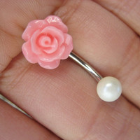 Pink Rose Belly Button Ring Jewelry Navel Piercing Stud Bar Barbell Rosebud Flower Bud- Choose Your Color Ball Pearl Opal