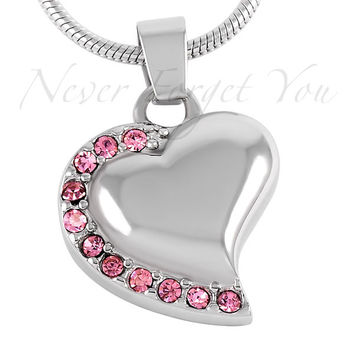 """Stainless Steel """"Breast Cancer Heart"""" Urn Necklace"""