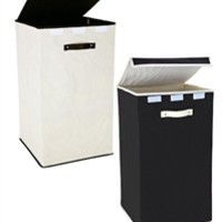 Collapsible Fold-Up Laundry Hamper - Black & Cream College Laundry Supplies Dorm Stuff Shopping Clean Bag Wash