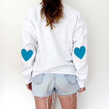 Elbow Heart Sweatshirt - Aqua Blue