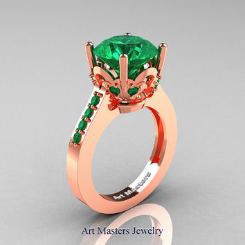 Classic 14K Rose Gold 3.0 Carat Emerald Solitaire Wedding Ring R301-14KRGEM