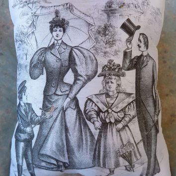 Vintage Print of Victorian Family w Birds  small Pillow