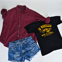 Mystery GRUNGE 90s outfit flannel shorts Tshirt / hipster indie 1990s / T Shirt / mystery outfit distressed cutoffs