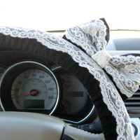 Black & Lace Steering Wheel Cover with Matching Bow by BeauFleurs