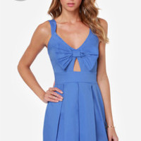 LULUS Exclusive Be So Bow-ld Cutout Blue Dress