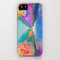 AROUND THE RIVERBEND - Autumn River Modern Nature Pochahontas Abstract Landscape Acrylic Painting iPhone Case by EbiEmporium | Society6