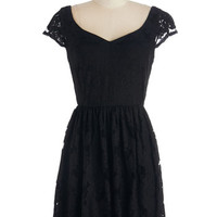 ModCloth LBD Short Length Cap Sleeves A-line Across the Booth Dress