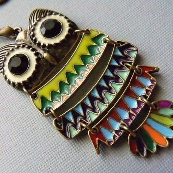Owl Necklace, Long Chain Colorful Owl Necklace, Large Owl Necklace, Owl Jewelry