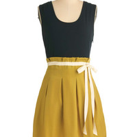 Pink Martini Urban Mid-length Sleeveless Twofer Scenic Road Trip Dress in Navy and Gold