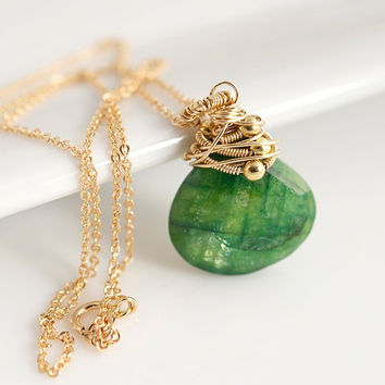 Emerald Pendant Necklace, Wire Wrapped Necklace, Statement Necklace, Birthstone Necklace, Delicate Necklace