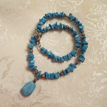Turquoise Southwest Nugget Beaded Semi-precious Pendant Necklace Silver