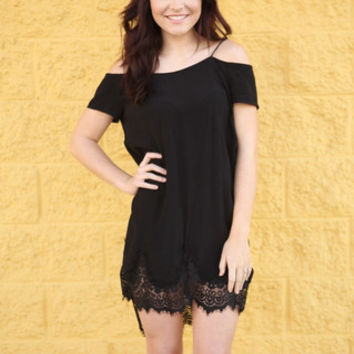 Off The Shoulder Comfy Dress With Lace