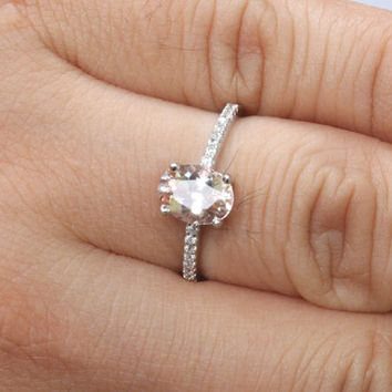 14k White Gold Morganite Oval 8x6mm Lonely Solitaire and Diamonds Ring (Choose color and size options at checkout)