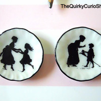 Dollhouse Miniature Set of Mother and Chid  Silhouette Plates 1:12 Scale