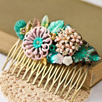 Shabby Chic Hair Comb  Vintage Hair Comb Collage Hair by lonkoosh