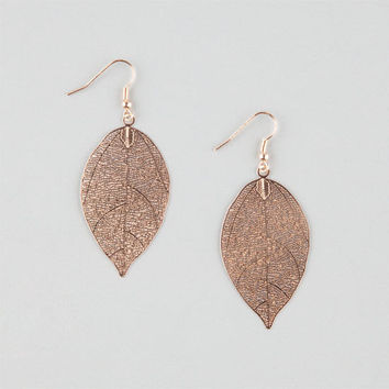 Full Tilt Foil Leaf Earrings Gold One Size For Women 26178162101