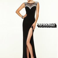 High Neck With Cap Sleeves Paparazzi Prom Dress By Mori Lee 97128