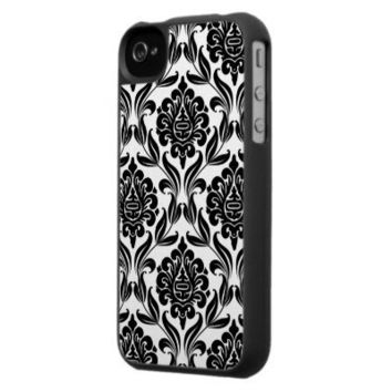 Black and White Damask Pattern Iphone Case from Zazzle.com