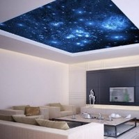 "Ceiling STICKER MURAL space blue stars galaxy night decole poster 93""x93"""