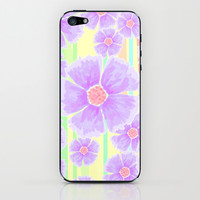 Spring Floral and Stripes Watercolor iPhone & iPod Skin by Lisa Argyropoulos | Society6