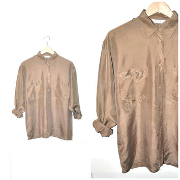 vintage pure SILK blouse vtg 1980 80s MINIMAL gender neutral taupe PREPPY button up long sleeve shirt open size medium
