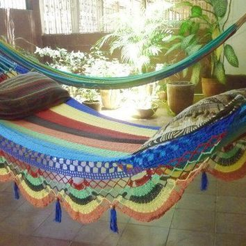 Multi Color Single Hammock handwoven Natural Cotton by hamanica