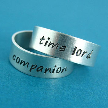 Doctor Who Rings Time Lord and Companion -Pair of Adjustable His and Hers Aluminum Rings - your choice of font