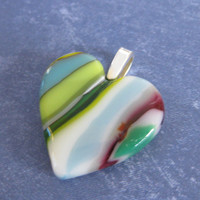 Colorful Heart Pendant, Valentines Day Heart, Striped Jewelry - Faitful Love - 4553 -2