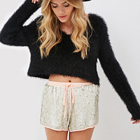 FOREVER 21 Sequined Drawstring Shorts Pink/Silver