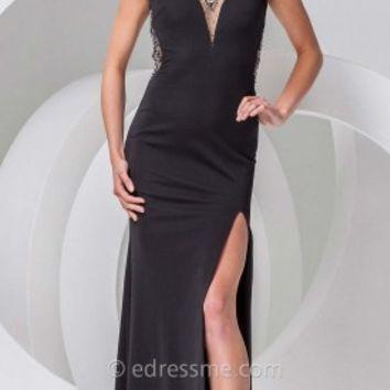 High Collar Jersey Prom Gown by Tony Bowls Paris