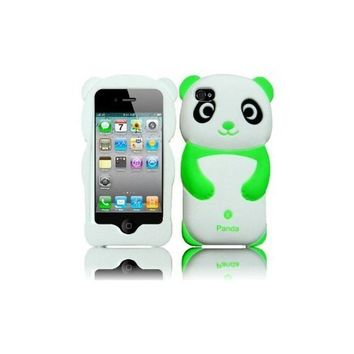 Green 3D Cute Panda Silicone Jelly Skin Soft Case Cover for Apple Iphone 4G 4 4S 4GS
