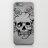 Skull with roses, silver iPhone & iPod Case by MehrFarbeimLeben
