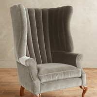 Velvet English Fireside Chair