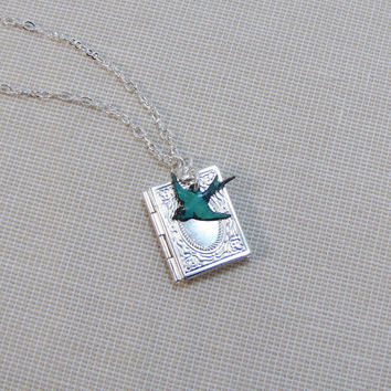 Book Locket And Bluebird Once Upon A Time Necklace by CuteAbility