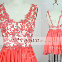2014 Homecoming Dress,Sexy Backless Beaded Lace Applique Short  Mini Dress,Prom Dress, Dresses,,Bridesmaid Dress,cocktail dress