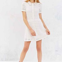 Cooperative Collared Crochet Shirt Dress- Ivory
